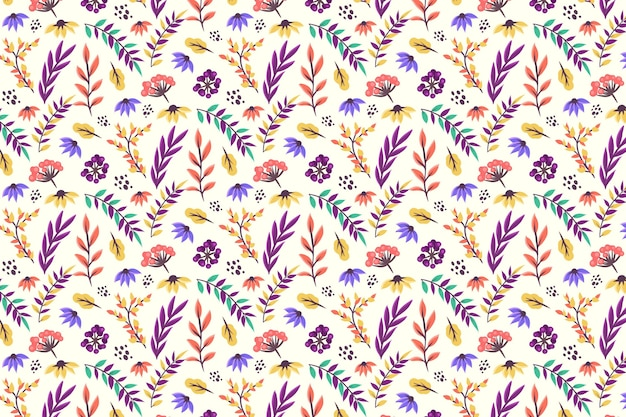 Floral pattern with leaves and flowers