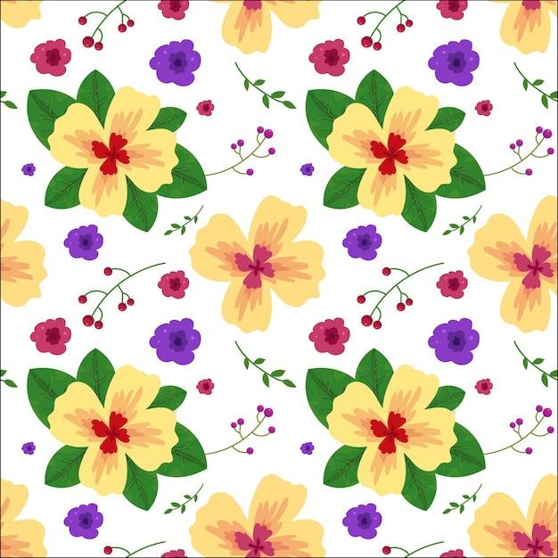 Цветочный узор с листьями в стиле акварели