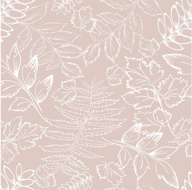 Floral pattern with leaves outline branches on beige