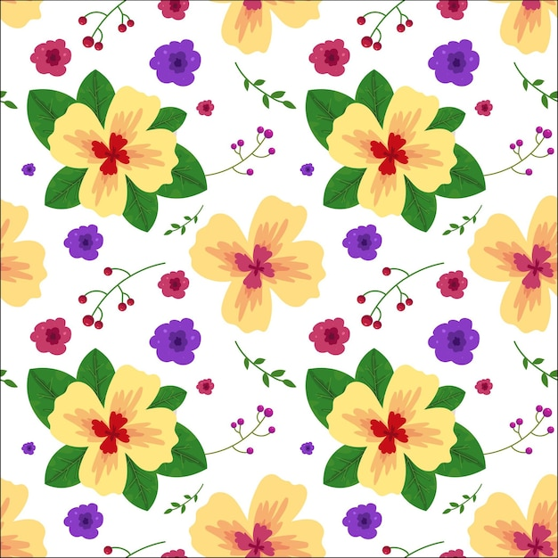 Floral pattern with leaves in watercolor style