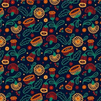 Цветочный узор с листьями