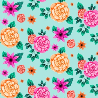 Floral pattern with orange and pink flowers