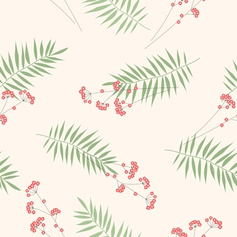 Цветочный узор с пальмовыми листьями и цветами на бежевом фоне для ткани и оберточной бумаги