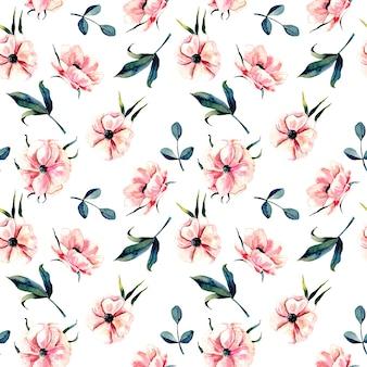 핑크 아네모네 꽃과 녹색 잎과 꽃 패턴