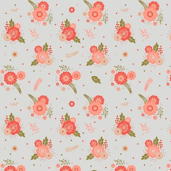 Floral pattern with pink flowers Free Vector