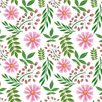 Floral pattern with pink flowers