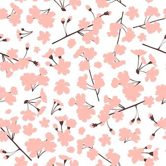 Цветочный узор с розовыми цветами сакуры