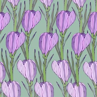 보라색 꽃으로 꽃 패턴입니다. 섬유에 대 한 벡터 원활한 인쇄