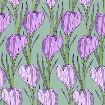 Floral pattern with purple flowers. vector seamless print for textile