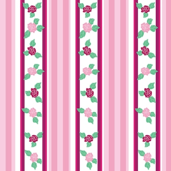 Floral pattern with roses on light background - seamless vector illustration.