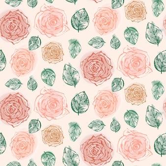 柔らかいオレンジ色のバラと葉を持つ花柄