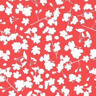 赤い背景に白い花と花柄