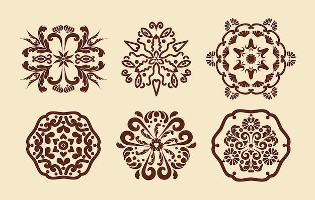 만다라의 꽃 패턴 멘디 패턴 장식 질감 브라운 베이지 색상