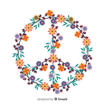 Floral peace sign background