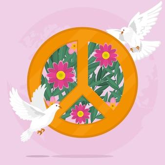 Цветочный символ мира и голуби