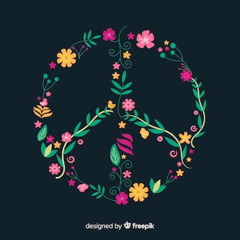 Floral peace symbol background