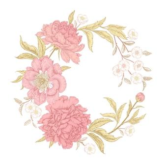 Цветочная рамка пионов, цветущий цветочный венок