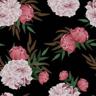 Floral peony seamless pattern