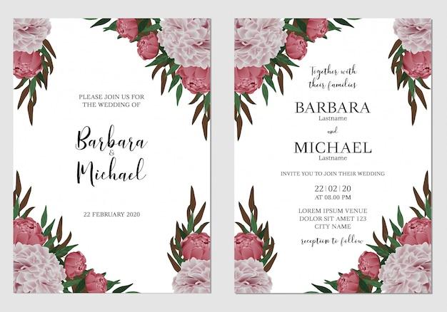 花牡丹結婚式招待状のテンプレート