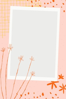 핑크 미적 배경에 꽃 한다면 꽃 그림 프레임 벡터 무료 벡터