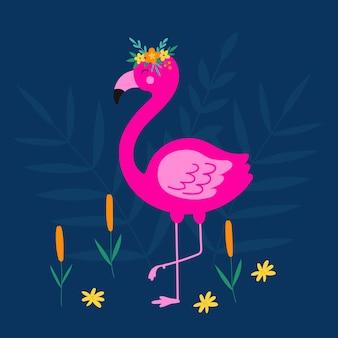 Цветочные розовые фламинго фламинго птицы цветы и камыши
