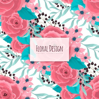 Floral   pink flowers seamless