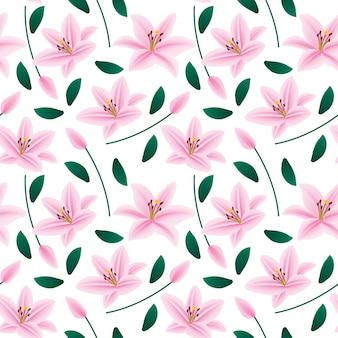 Floral pink lily seamless pattern