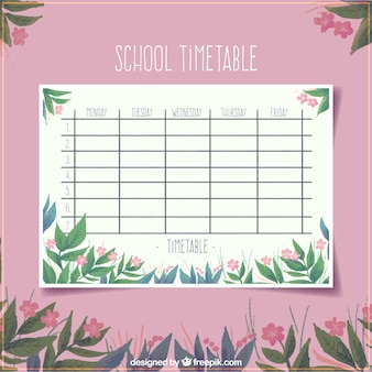 Floral pink school timetable template