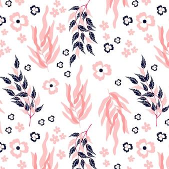 Floral pink seamless pattern