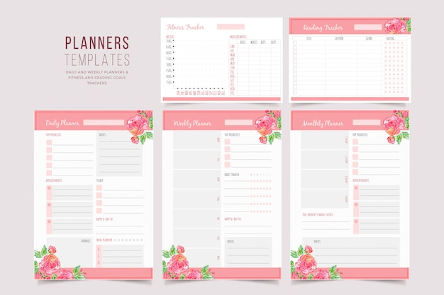 Floral planner templates collection