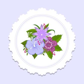 Цветочный дизайн декора тарелки. баннер с красочным букетом с зелеными листьями иллюстрации