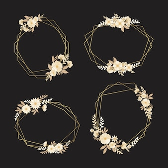 Floral polygonal frames in golden tones