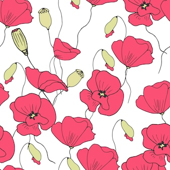 Floral poppies seamless pattern vector.