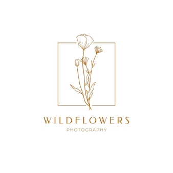 Floral poppy label for package. wildflower linear logo sketch. floral frame emblem for wedding, photographer brand, design. outline vintage hand drawn herbs. vector illustration isolated on background