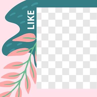 花のポスト。ソーシャルメディアの投稿テンプレートのような庭の植物相。花の要素を持つソーシャルメディアのテンプレート投稿。ベクトルイラスト