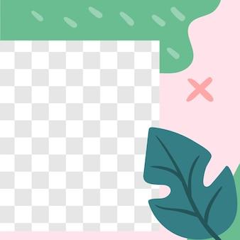 花のポスト。ガーデンフローラソーシャルメディア投稿テンプレート。透明な空間と春の植物カバー、プロモーションsmmイラストとベクトルフレーム