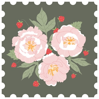 Floral post stamp. pink peonies and wild strawberries bouquet on a green background. hand-drawn greeting card  in style of a post stamp. modern  illustration for web and print.