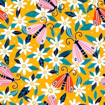 花柄のデザイン。かわいい花と蝶のパターン