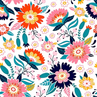 Floral print design. pattern with cute flowers and berries