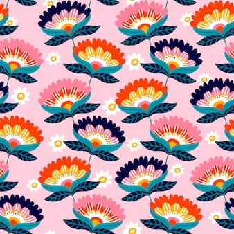 花柄のデザイン。ピンクの背景にかわいい花のパターン。