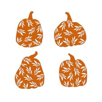 Floral pumpkin with leaves set. autumn season decoration.