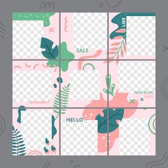 花のパズルのテンプレートです。ソーシャルメディアフォトフレーム投稿トレンド、庭の植物の投稿グリッドと花のデザインテンプレートベクトルセット