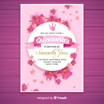 Floral quinceañera  party invitation