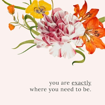 Floral quote template  illustration with you are exactly where you need to be text, remixed from public domain artworks