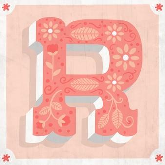 Floral r creative alphabet