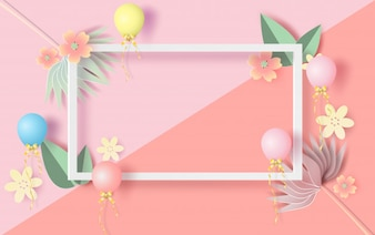 Floral rectangle frame with Spring season
