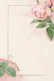 Floral rectangle golden frame