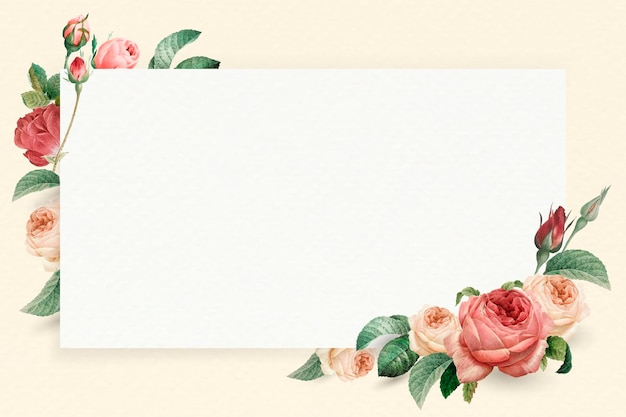 Floral rectangle white frame vector Free Vector
