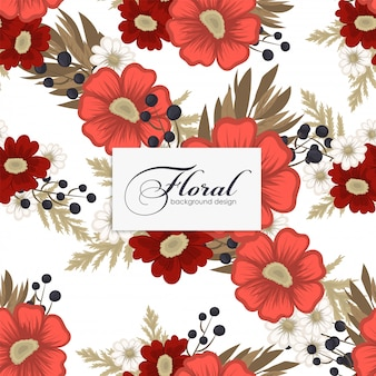 Floral  red flowers seamless