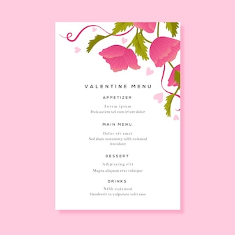 Floral restaurant menu for valentine's day